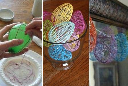 Великденски яйца от пъстри нишки