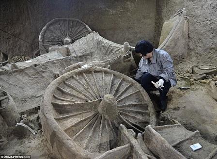 Откриха колесници от китайска погребална процесия на 2400 години